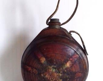 Antique Bulgarian Wooden Handmade Wine Vessel 19c , Dark Patina