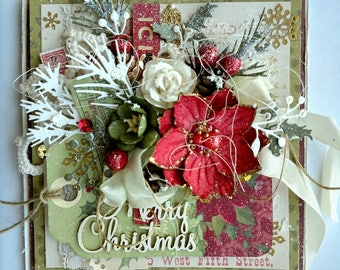 Beautiful Handmade Shabby Chic Christmas Greeting Card #WC2017-9