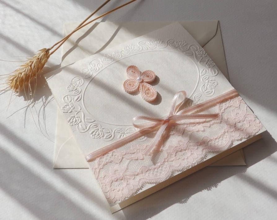 Handmade Christening Invitation/Quilling Cross Invitation/Elegant Pink Lace  Invitation/Unique Baptism Invitation