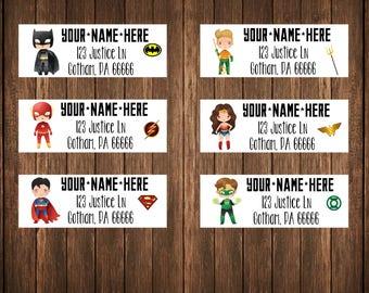 Justice League Address Labels, Superhero Labels, Superhero Birthday Labels
