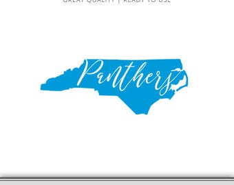 North Carolina Panthers State Outline Graphic - Panthers SVG - Panthers Football SVG - 7 formats Ready to Use!