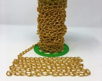 "3/8"" Wide Aluminum (Gold) Chain by Yard"