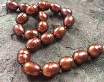 Copper pearl strand, brown pearls, sampled, jewelry supply, lot