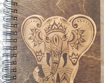 Elephant Etched Wooden Notebook