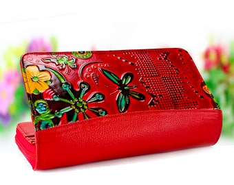 Gift for Girlfriend Girl's Wallet wallet for girl Gift for Her Red wallet Modern Wallet red gifts
