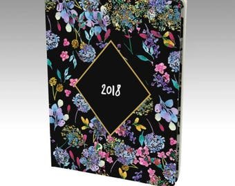 2018 Journal Diary, 2018 Notebook, 2018 Diary, Watercolor Floral Journal, 2018 Planner, Journal for 2018, Floral Planner, Unlined notebook