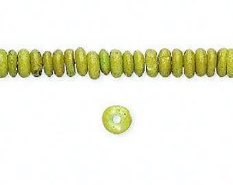 Bone Beads, Green Rondelle Beads, Boho, Rustic, Tribal, 5x2mm, 40 beads, D740