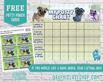 Printable Puppy Dog Pals Potty Chart, FREE Punch Cards   Disney Junior   Digital JPG File, Instant download, Files are NOT Editable