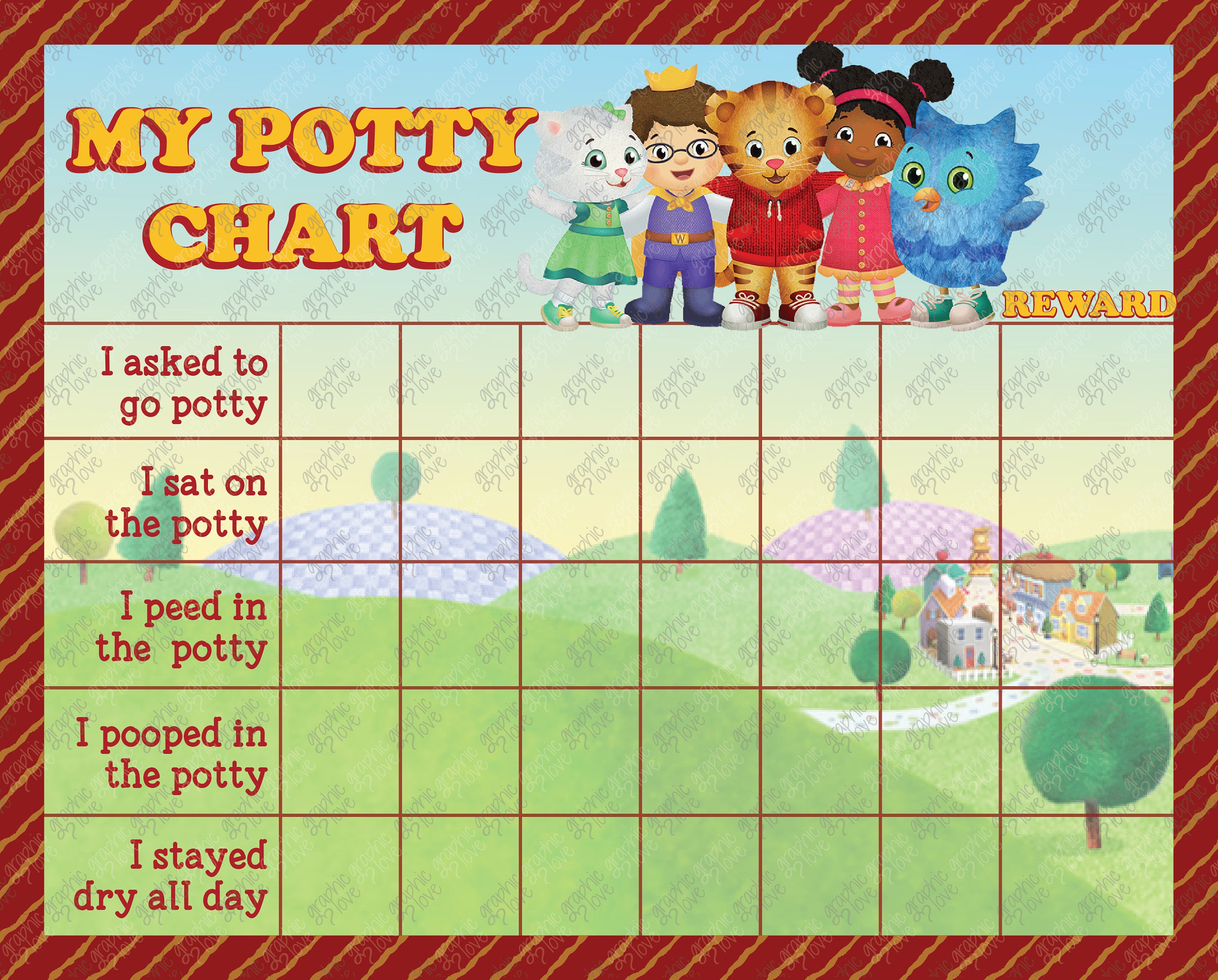 printable daniel tiger potty chart  free punch cards