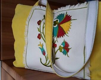 Embroidered  machine,handmade bag,yellow bag,tote bag,handmade clutch,Stylish bag,fabric bag,fun summer tote bag,gift