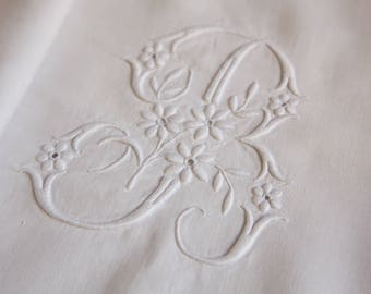 French antique pure linen embroidered Bedsheet - BP monogram