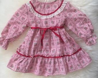 Vintage 70s pink floral boho prairie toddler girl 2t dress