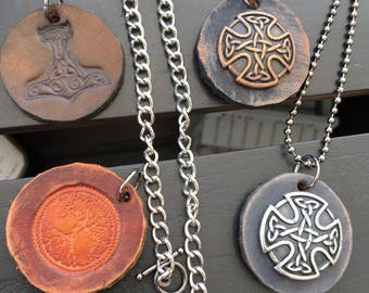 Men's Necklace, Leather Necklace Irish Necklace, Celtic Necklace  or Thor's hammer Necklace, Surfer Necklace