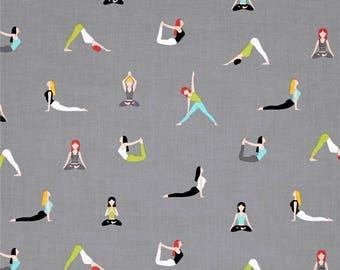 Yoga Good Postures Spa Grey Namaste Yogi Cotton Fabric from the Namaste Collection by Michael Miller Fabrics