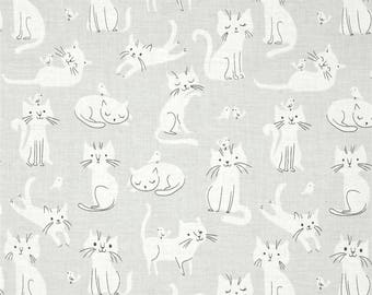 Cats Cat Scatter Whiskers and Tails Kitties Birds Grey Cotton Fabric by Robert Kaufman