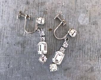 Diamante drop earrings, rhinestone earrings, vintage earrings, vintage bridal,  dangle earrings, wedding earrings, vintage rhinestone