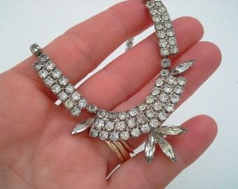 Vintage Silver Tone Rhinestone Necklace, Rhinestone Choker, Wedding Jewelry, Bridal Jewelry, Vintage Wedding, Vintage Bride, Vintage Prom