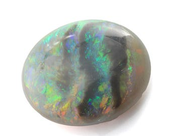 Opal natural solid untreated | Australian lightning ridge | semi black opal | play of color | green blue orange | 3.7 ct | 13 x 10.6 mm