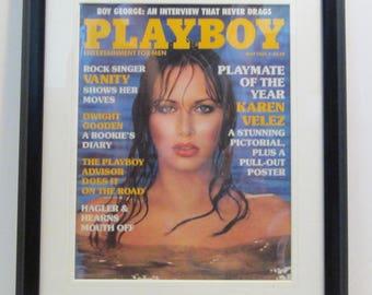 Vintage Playboy Magazine Cover Matted Framed : May 1985 - Karen Velez