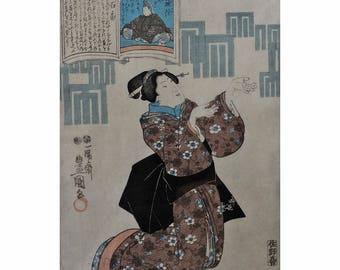 "Japanese Woodblock Print Toyokuni III ""Beauty"" 1847"