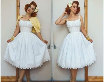 White Broderie Anglaise Vintage inspired gathered bust dress