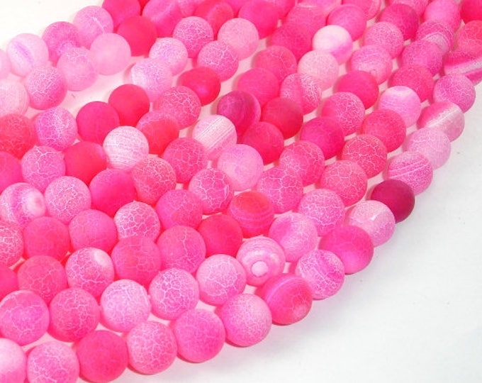 Frosted Matte Agate Beads-Pink, 8mm Round Beads , 14.5 Inch, Full strand, Approx 48 beads, Hole 1 mm (122054040)