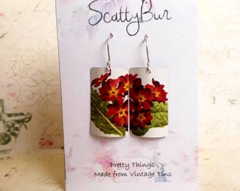 Diptych-style recycled tin earrings by ScattyBun anniversary/tinfortheten/reloved/recycledtin/repurposed/upcycled/primula/primrose /red