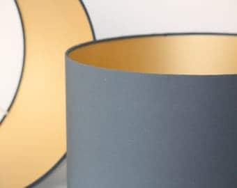 Dark Grey handmade drum lampshade with gold lining available in variety of sizes