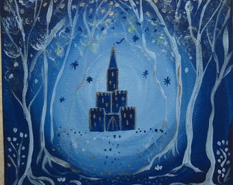 A castle in winter - acrylic on canvas - 20 x 20