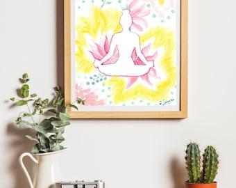 Yoga poster illustration Happy Deco painting-20 x 30 cm - 8.3x11.7 in decorative Nature Art Yoga Art impressionprint Poster