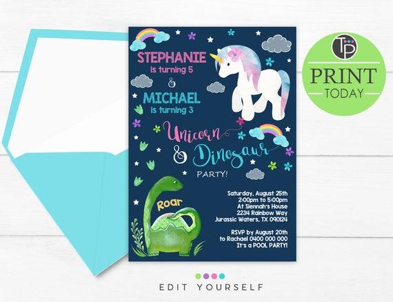 boy girl invitation joint birthday unicorn dinosaur