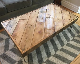 Reclaimed & Recycled Wood Coffee Table on Vintage Style Hairpin Legs
