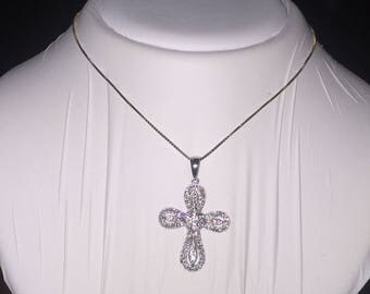 18K White Gold & Diamond Crucifix/Cross Pendant. Total diamonds' weight: 0.50ct.