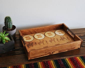 Beer Beef Serving Tray, built in coasters, features horse punch scene of Blazing Saddles, wood engraving, horse, engraved gifts, pine, birch