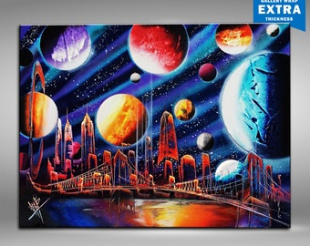 Universe. New York Skyline. Spray paint 18x24