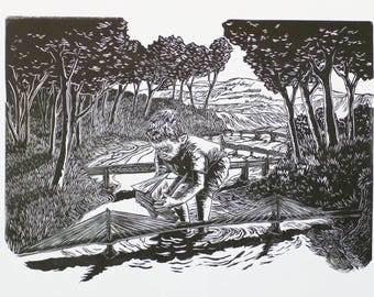 A Boy and His Boat linocut print