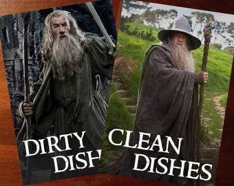 Gandalf | Lord of the Rings Reversible Dishwasher Magnet | Geek Kitchen | Clean Dirty Magnet