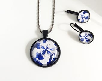 Long Pendant Necklace, Pendant Necklace and Earring set, Jewellery Gift, Contemporary Jewellery made by rubybluejewels