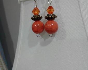 Burnt Orange Beaded Earrings