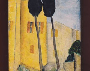Landscape-Cypresses and Houses 1919 - Amedeo Modigliani.FREE SHIPPING
