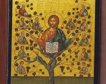 Christ, The Vine, Monastery Assumption Mary, Parnitha.Christian orthodox icon. FREE SHIPPING