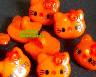 10 BUTTONS SCRAPBOOKING EMBELLISHMENT KITTY CAT 13 * 12 MM ORANGE BEADS