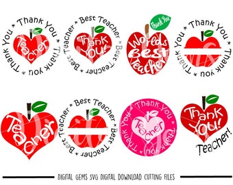 Thank You Teacher svg / dxf / eps / png files. The files work well with Silhouette and Cricut. Digital Download. Commercial use ok.