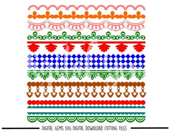Patterned borders svg / dxf / eps / png files. Digital download. Compatible with Cricut and Silhouette machines. Small commercial use ok.