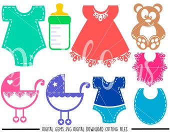 Baby Items svg / dxf / eps / png files. Digital download. Compatible with Cricut and Silhouette machines. Small commercial use ok.