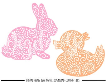 Bunny and Duck svg / dxf / eps / png files. Digital download. Compatible with Cricut and Silhouette machines. Small commercial use ok.