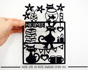 Cat paper cut svg / dxf / eps / files and pdf / png printable templates for hand cutting. Digital download. Small commercial use ok.