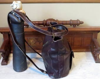 Vintage American Angel Combination Shoulder Bag Backpack In Mahogany Leather With Antique Brass Hardware -VGC