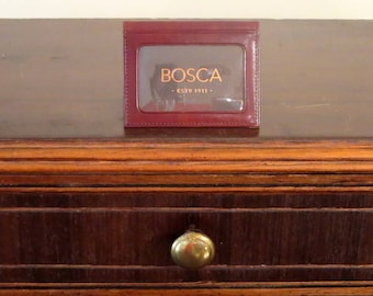 Beautiful Bosca Identification And Business Card Case In Burgundy Leather - EUC