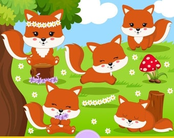 80% OFF SALE Fox clipart, Spring flower clipart, Forest clipart, Spring clip art, Cute fox graphics - CA350